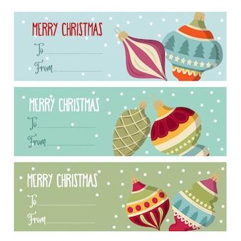 Ładny płaski projekt etykiety świąteczne kolekcji
