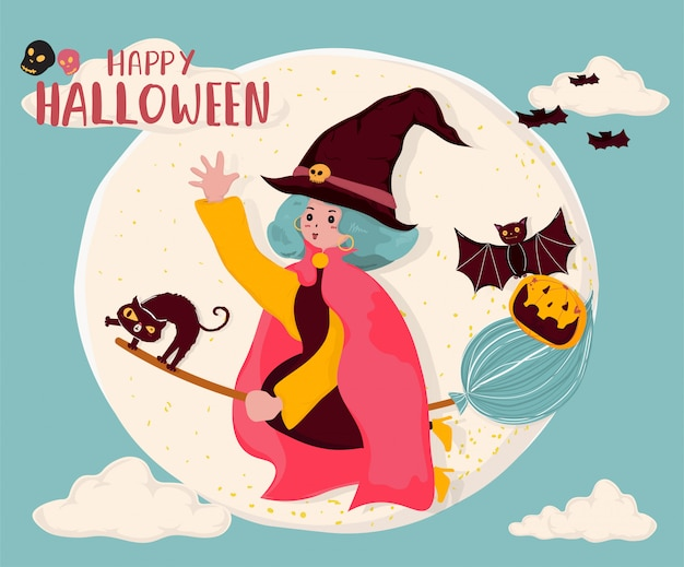 Ładny płaski wektor wiedźma jeździć na miotle, latające nad pełnią księżyca z kotem i nietoperzem, miejsce na tekst, notatkę, baner, tło do druku