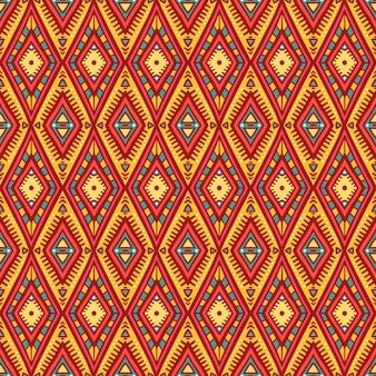 Ładny plemienny pomarańczowy i różowy wzór z rombami