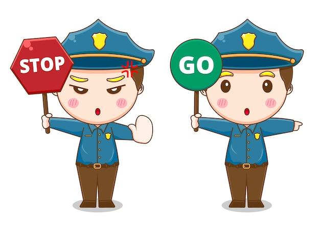 Ładny policja ze znakami drogowymi na białym tle