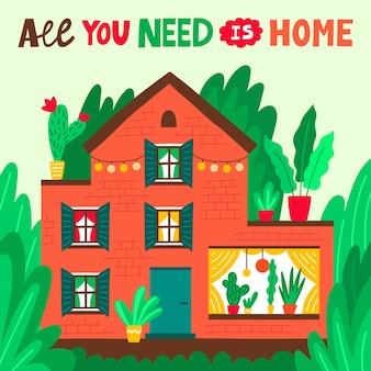 Ładny pomarańczowy dom rodzinny z frazą napis wszystko czego potrzebujesz to dom. letni domek z piękną przyrodą i kwitnącymi roślinami. posiadłość wiejska. kreskówka kolorowy