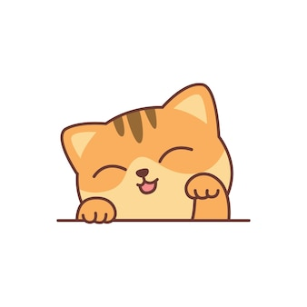 Ładny pomarańczowy kot kreskówka, ilustracji wektorowych