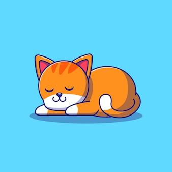 Ładny pomarańczowy kot śpi ilustracja. kot maskotka kreskówka znaków zwierzęta ikona koncepcja na białym tle.
