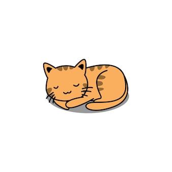 Ładny pomarańczowy kot śpi kreskówka na białym tle