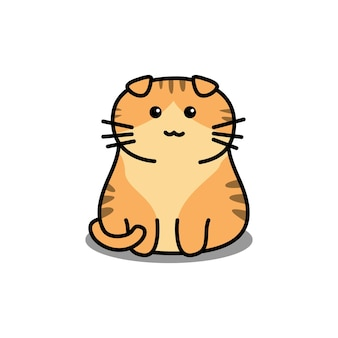 Ładny pomarańczowy kot szkocki zwisłouchy kreskówka na białym tle