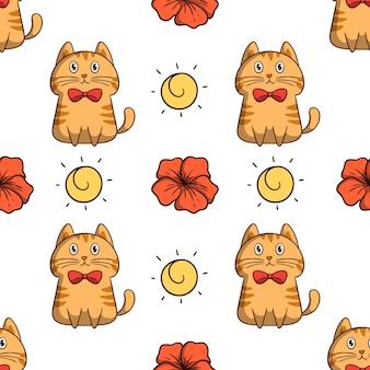 Ładny pomarańczowy kot ze słońcem i kwiatem w bezszwowym wzorze z kolorowym stylem doodle na białym tle