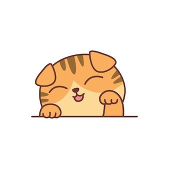 Ładny pomarańczowy szkocki zwisłouchy kot kreskówka, ilustracji wektorowych