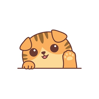 Ładny pomarańczowy szkocki zwisłouchy kot macha łapa kreskówka, ilustracji wektorowych