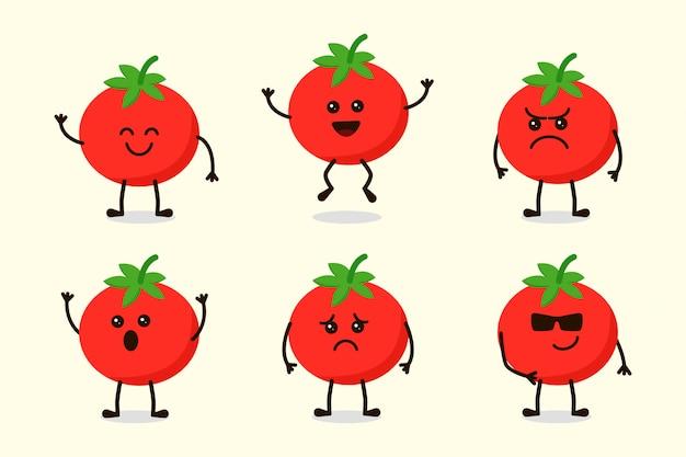 Ładny pomidorowy charakter warzyw na białym tle w wielu wyrażeniach