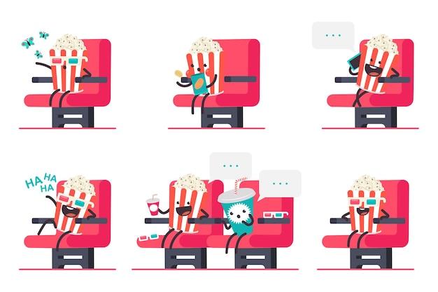 Ładny popcorn i napoje gazowane w zestaw postaci z kreskówek kina na białym tle.