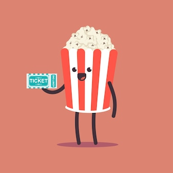 Ładny popcorn z postać z kreskówki wektor bilet do kina na białym tle na przestrzeni.