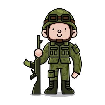 Ładny postać z kreskówki armii