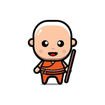 Ładny postać z kreskówki buddyjski shaolin