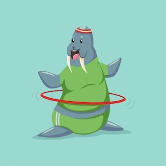 Ładny postać z kreskówki walrus robi ćwiczenia z hula hop