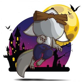 Ładny postać z kreskówki wilkołaka. słodkie pojęcie halloween.