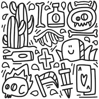 Ładny potwór doodle projekt naklejki