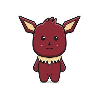 Ładny potwór maskotka postać z kreskówki ikona ilustracja wektorowa. projekt na białym tle. płaski styl kreskówek.