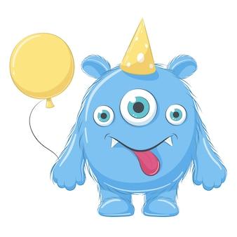 Ładny potwór z balonem. wszystkiego najlepszego z okazji urodzin clipart