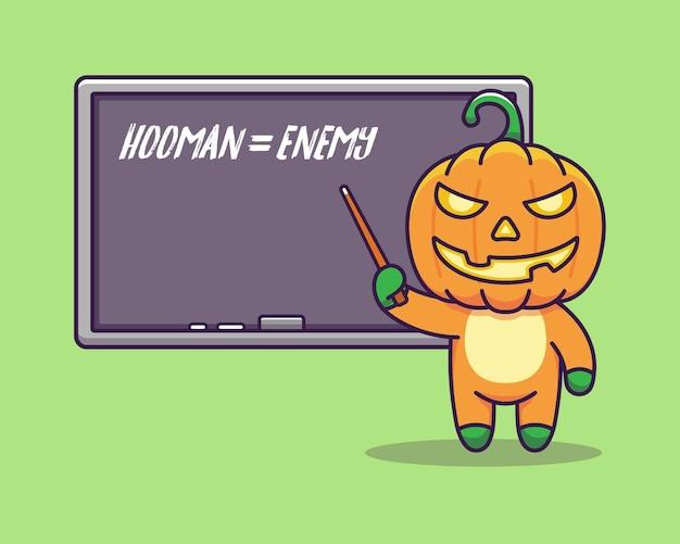 Ładny potwór z dyni nauczanie z tablicą
