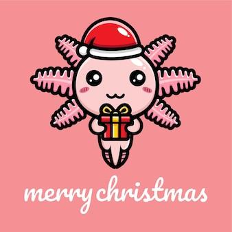 Ładny projekt axolotl świętuj boże narodzenie