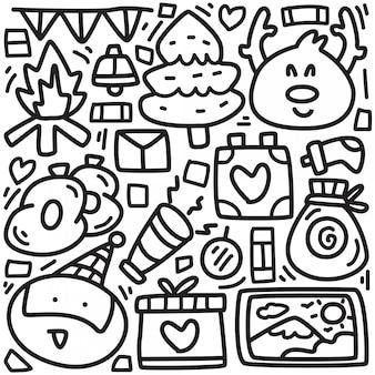 Ładny projekt doodle boże narodzenie