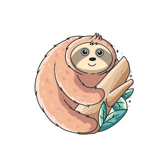 Ładny projekt ilustracji lenistwa zwierząt