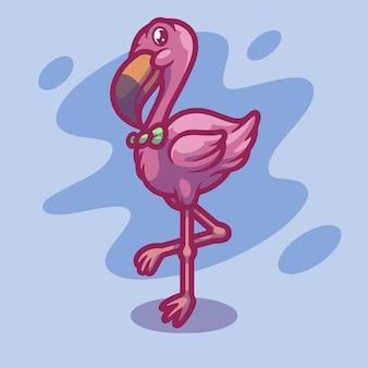Ładny projekt ilustracji maskotka flamingo