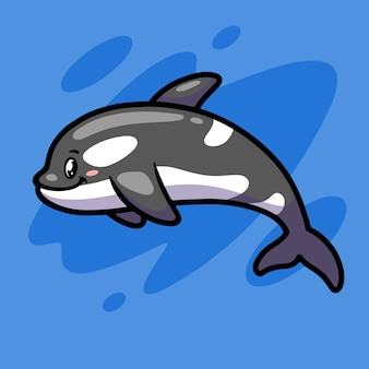 Ładny projekt ilustracji maskotki orki