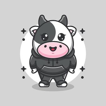 Ładny projekt maskotki krowy