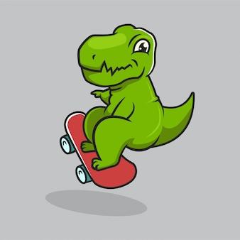 Ładny projekt maskotki kultury miejskiej dino t rex