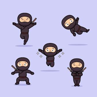 Ładny projekt maskotki ninja