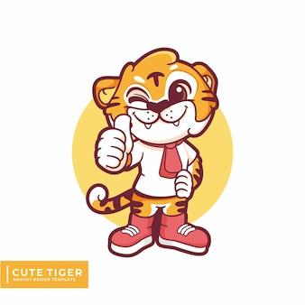 Ładny projekt maskotki tygrysa