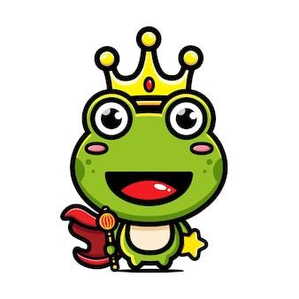 Ładny projekt postaci króla żaby