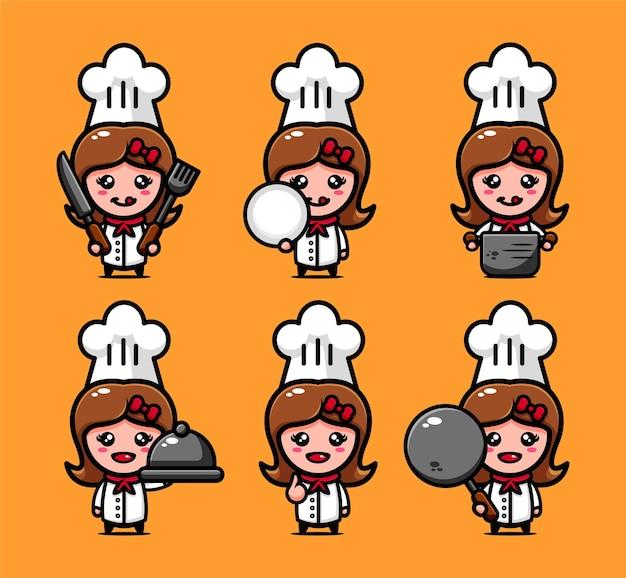 Ładny projekt postaci szefa kuchni zestaw ze sprzętem do gotowania
