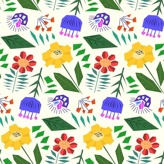 Ładny prosty wzór z płaskimi abstrakcyjnymi kwiatami w skandynawskim stylu