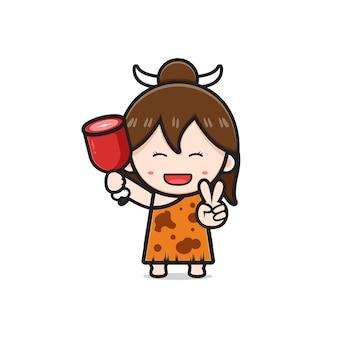 Ładny prymitywny jaskiniowiec dziewczyna trzyma mięso kreskówka ikona ilustracja. zaprojektuj na białym tle płaski styl kreskówki