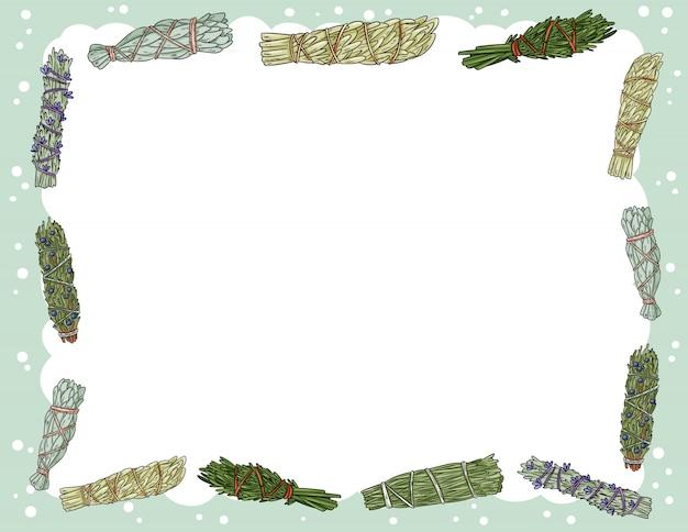 Ładny, przytulny baner z szałwią smugą przykleja elementy. ulotka dotycząca miejscowych wiązek ziół boho. szablon stylu kreskówka dla agendy, planistów, list kontrolnych i innych artykułów piśmiennych. miejsce na tekst