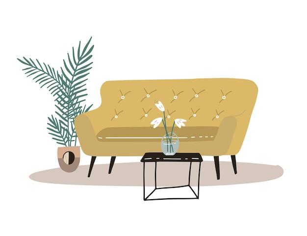Ładny, przytulny pokój z żółtą wygodną sofą, stolikiem kawowym, palmą doniczkową, wazonem z kwiatami. wygodny dom lub mieszkanie. skandynawski styl hygge. na białym tle ręcznie rysowane ilustracja płaski.