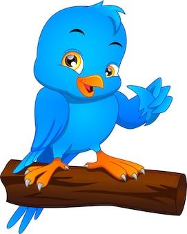 Ładny ptak kreskówka kciuki do góry