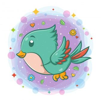 Ładny ptak latający postać z kreskówki