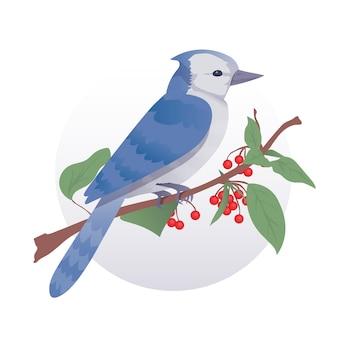Ładny ptak siedzący na gałęzi