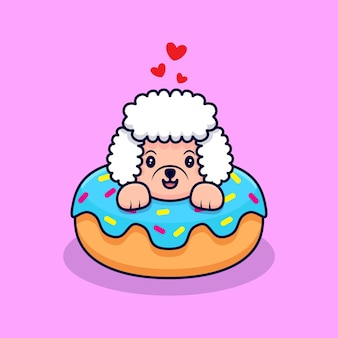 Ładny pudel pies wewnątrz pączka ikona ilustracja kreskówka