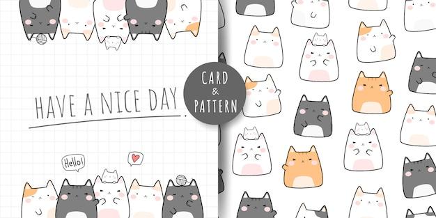 Ładny pyzaty kot kreskówka doodle wzór i karty
