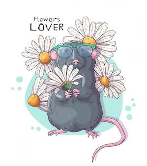 Ładny realistyczny szczur z kwiatami.