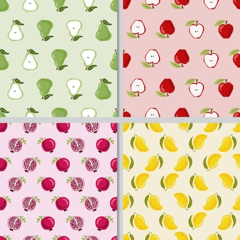 Ładny ręcznie rysować kolekcję kolorowych owoców bez szwu