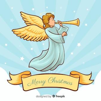 Ładny ręcznie rysowane anioł bożego narodzenia