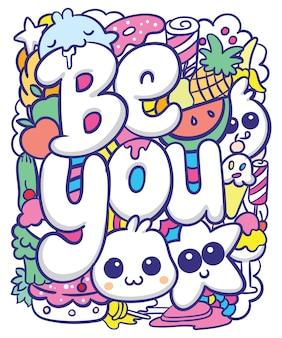 Ładny ręcznie rysowane doodle sztuki z typografią