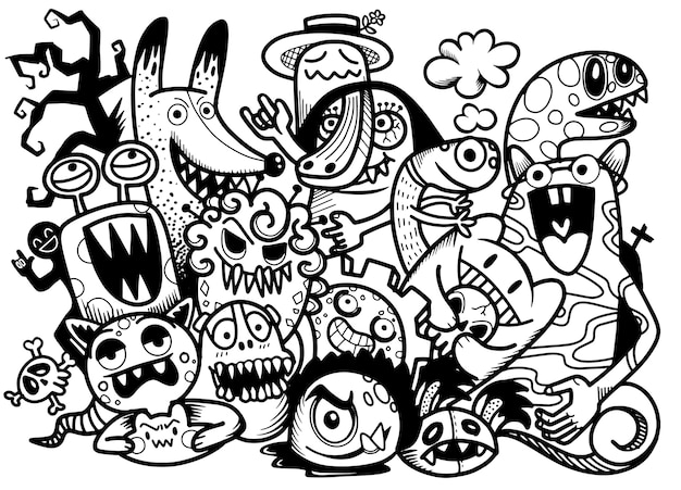 Ładny ręcznie rysowane gryzmoły halloween, ilustracja