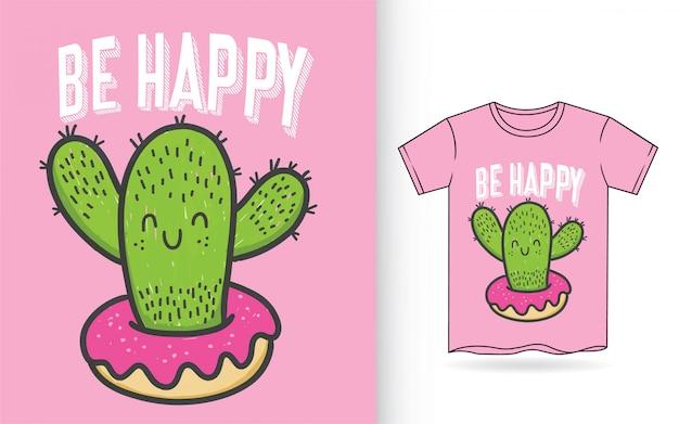 Ładny ręcznie rysowane kaktus do druku t shirt