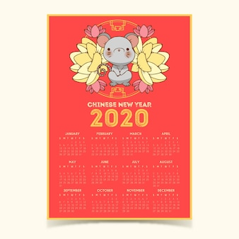 Ładny ręcznie rysowane kalendarz chiński nowy rok